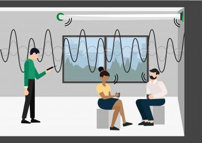 Meting geluidsniveau geluidsmeting akoestiek illustratie