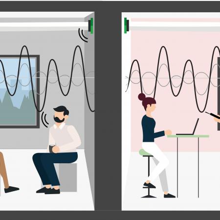 Isolatiemeting akoestiek meting illustratie