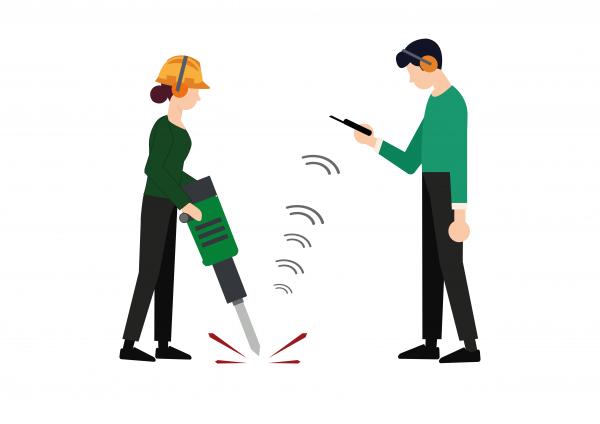 Trillingsmeting akoestiek meting illustratie