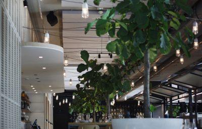 Plafondpanelen grijs restaurant Neni akoestiek